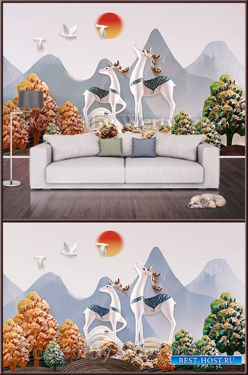 3D psd background wall elk and landscape