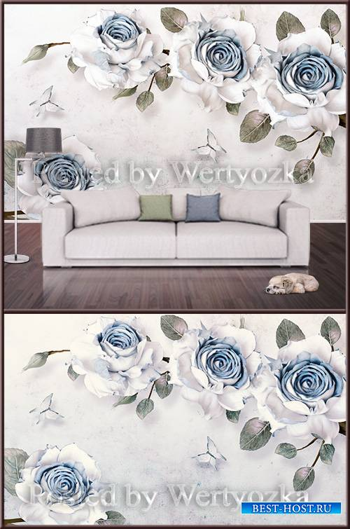 3D psd background wall blue and white roses