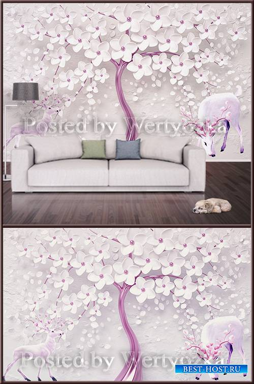 3D psd background wall tree with flowers and deer