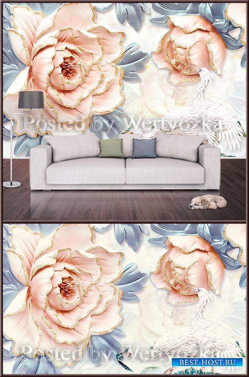3D psd background wall luxurious peony flower