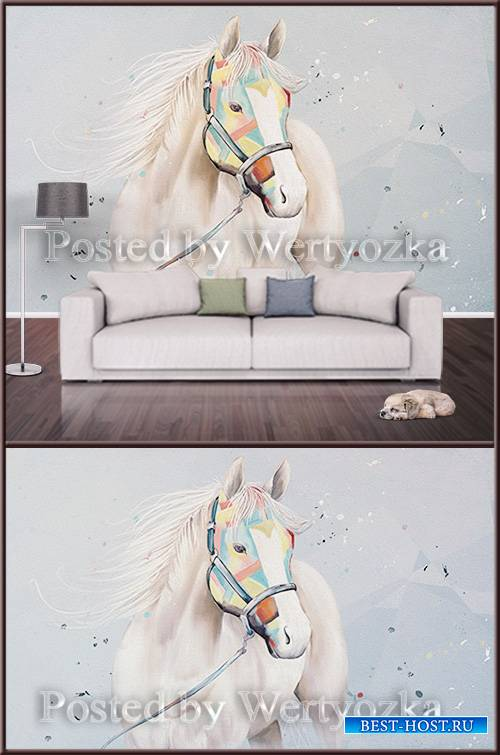 3D psd background wall white horse