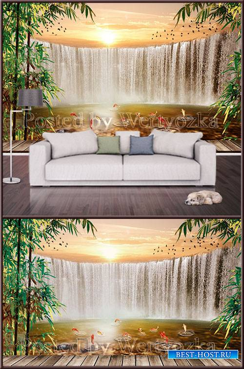 3D TIF background wall waterfall at sunset