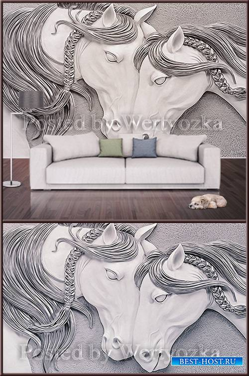 3D psd background wall two horses