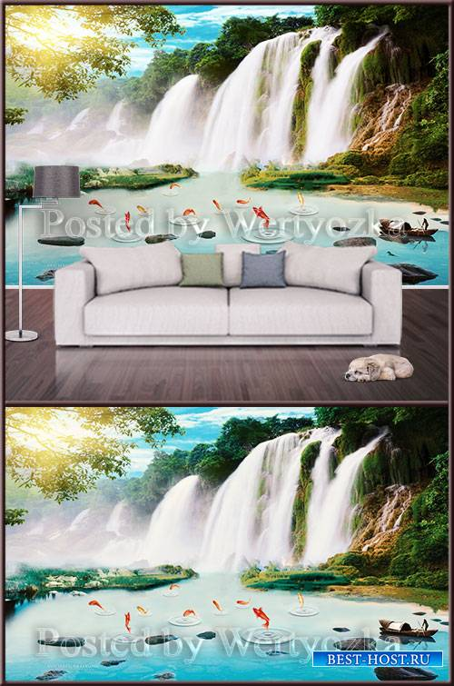 3D psd background wall waterfall and nature
