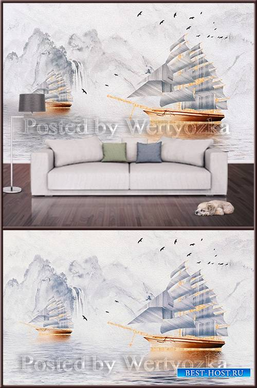 3D psd background wall sailboat