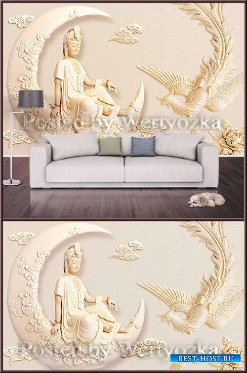 3D psd background wall goddess and phoenix