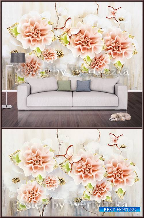 3D psd background wall modern embossed flowers