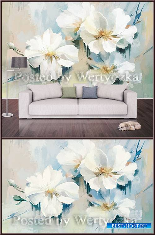 3D psd background wall painted flowers