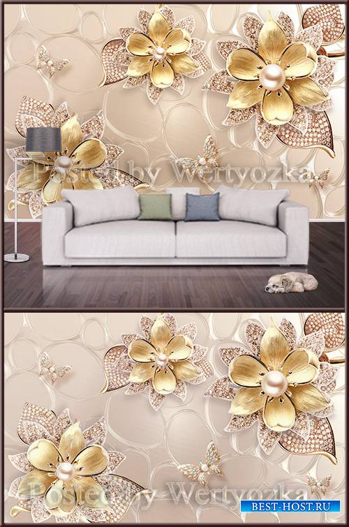 3D psd background wall golden flowers with pearl