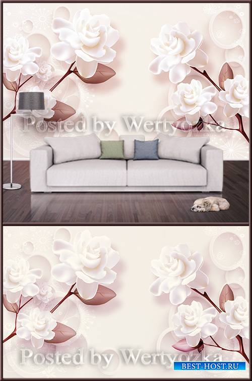 3D psd background wall elegant white flowers