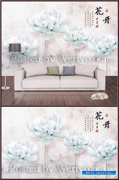 3D psd background wall blue magnolia