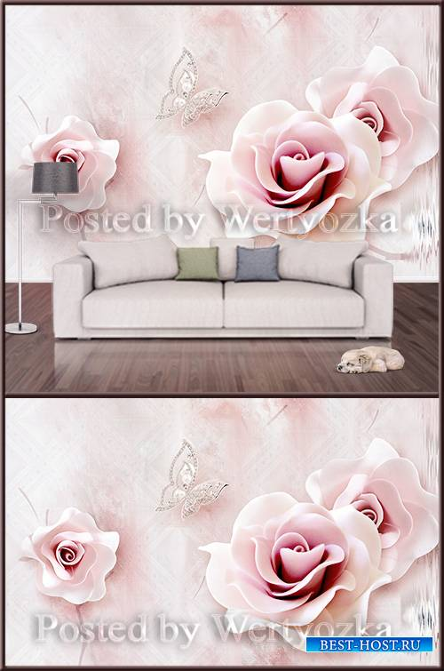 3D psd background wall tender rose and butterflies