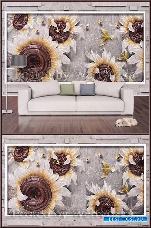 3D psd background wall sunflowers