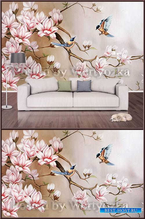 3D psd background wall magnolia and birds