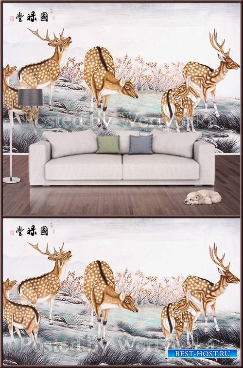 3D psd background wall nature deer