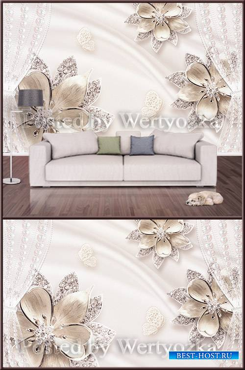 3D psd background wall jeweled flowers pearls