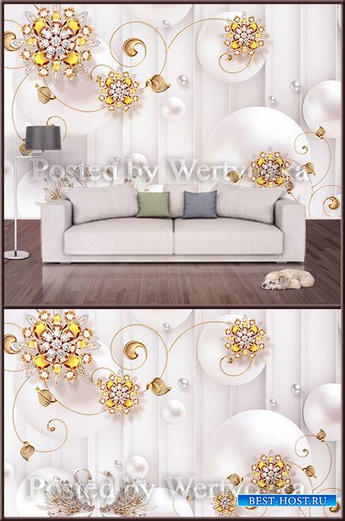3D psd background wall golden swans decorations