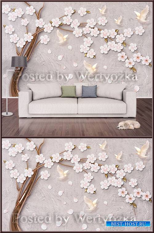 3D psd background wall tree with flowers and birds