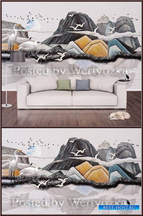 3D psd background wall mountains and birds