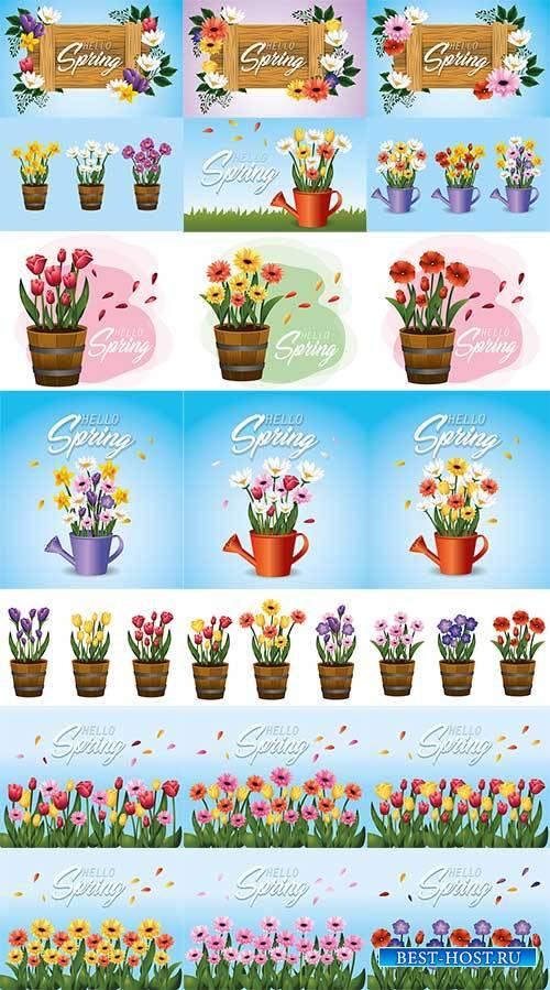 Весенние фоны - Векторный клипарт / Spring backgrounds - Vector Graphics
