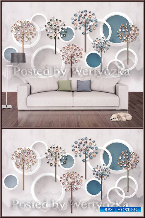 3D psd background wall three dimensional circle flower