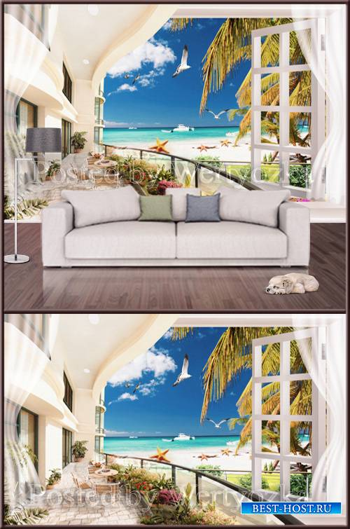 3D psd background wall sea view