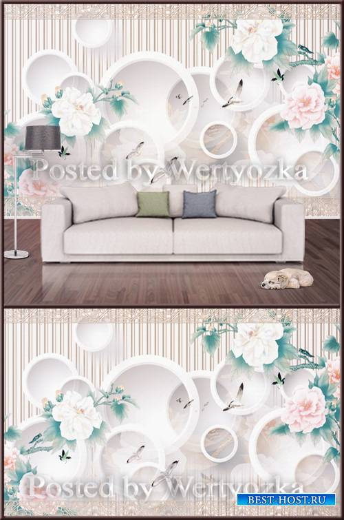 3D psd background wall circles and peonies