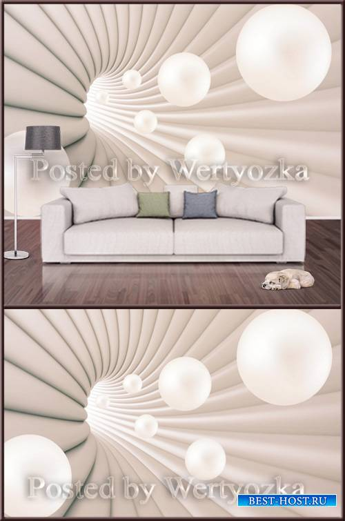 3D psd background wall abstraction with white balls