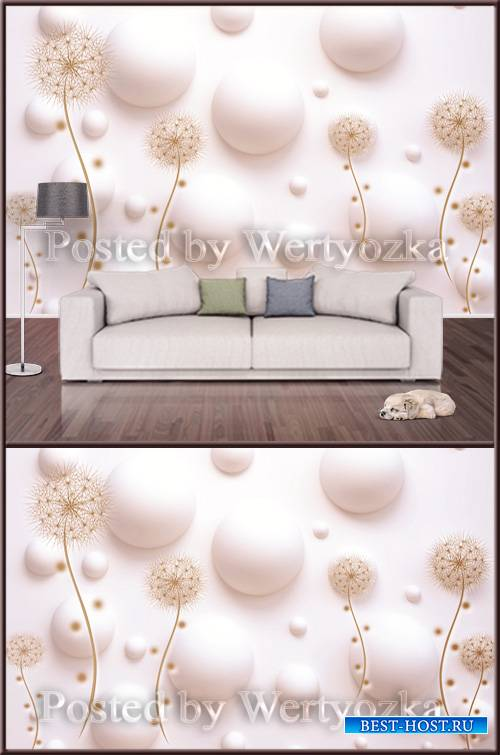 3D psd background wall golden dandelions