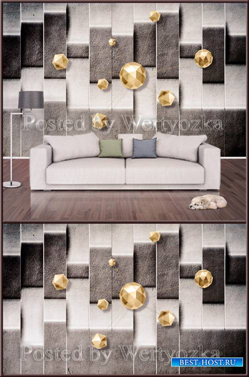 3D psd background wall abstraction with golden stones