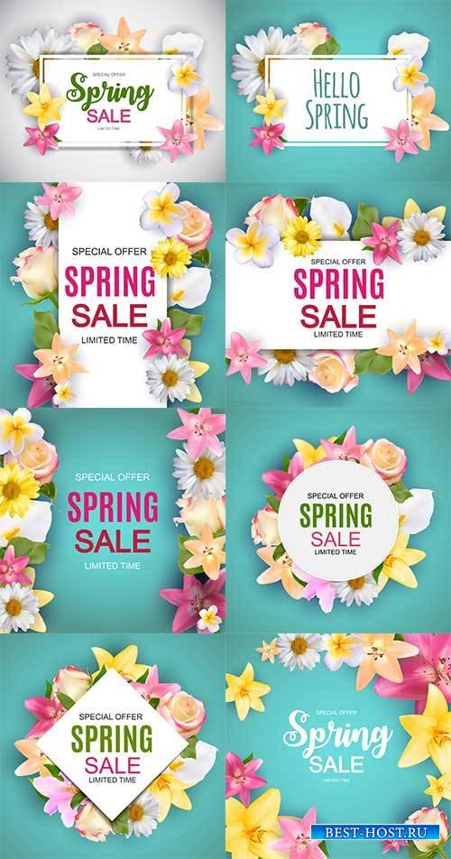 Весенние фоны - 2 - Векторный клипарт / Spring backgrounds - 2 - Vector Gra ...