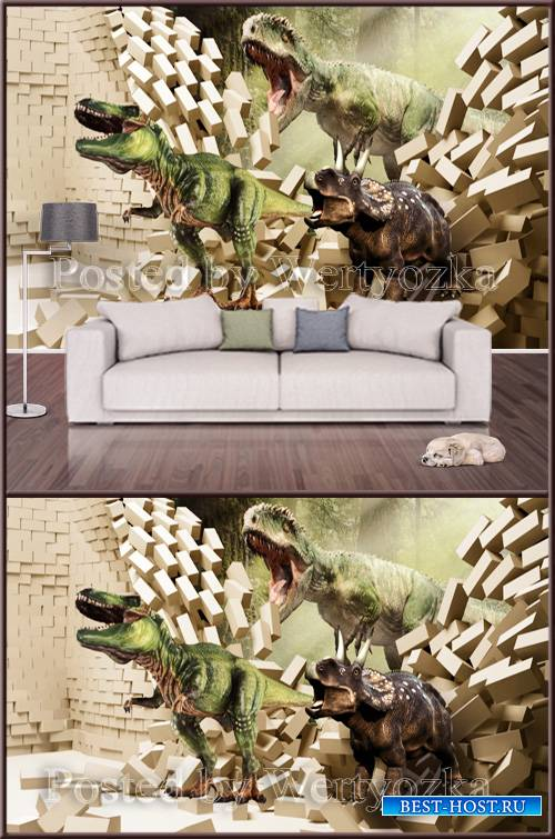 3D psd background wall dinosaurs