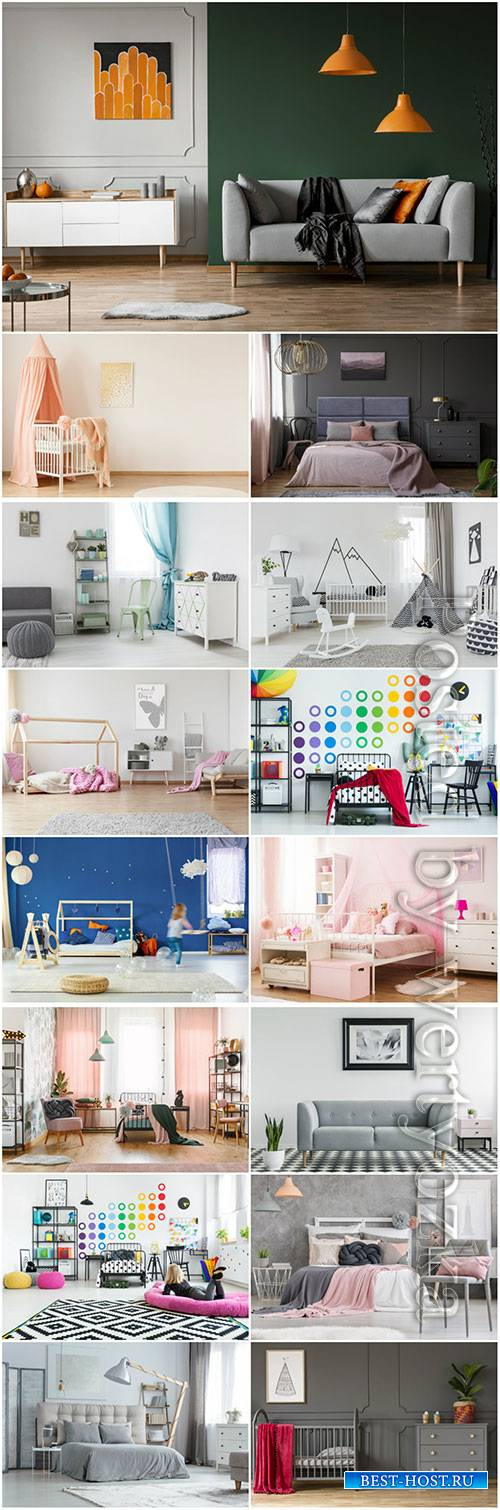 Interior bedroom, living room, children beautiful stock photo