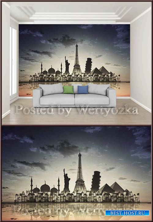 3D psd background wall beautiful city night