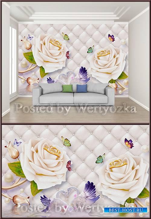 3D psd background wall roses swans butterflies