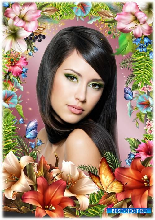 Цветочная рамка для фотошопа - Загадочные лилии