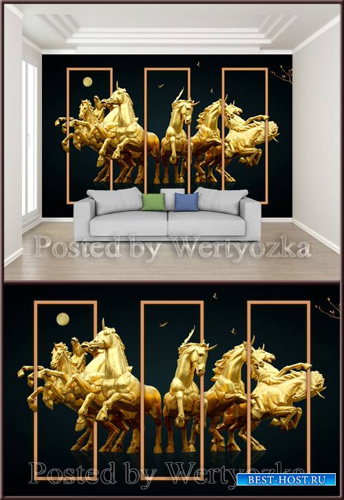 3D psd background wall golden horse