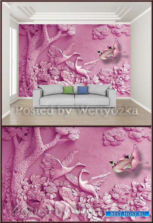 3D psd background wall carved trees birds