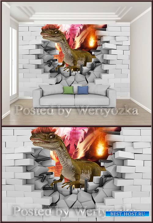 3D psd background wall broken wall dinosaur
