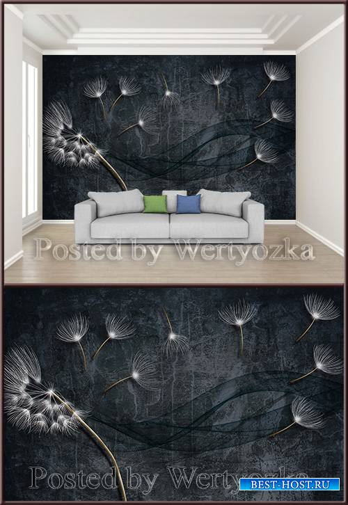 3D psd background wall black dandelion