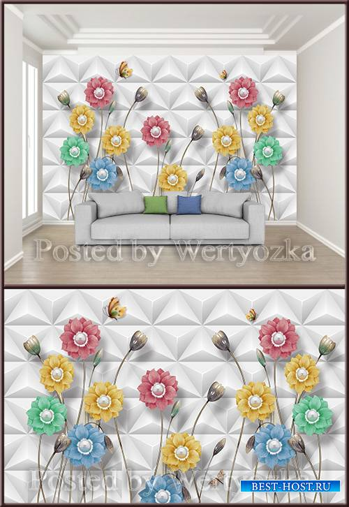 3D psd background wall stereo flower
