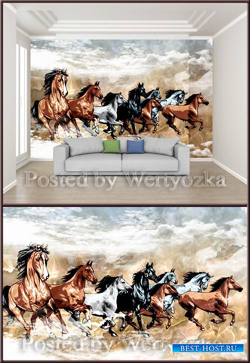 3D psd background wall chinese style horse