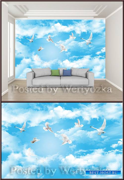 3D psd background wall fantasy sky clouds flying birds zenith ceiling mural