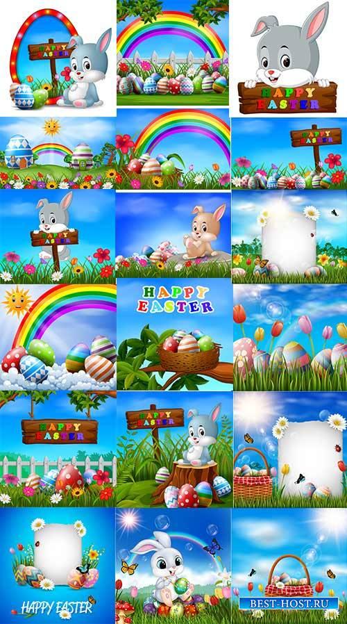 Фоны к Пасхе в векторе / Easter backgrounds in vector