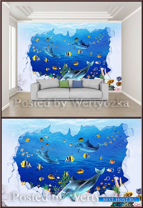 3D psd background wall underwater world childrens room