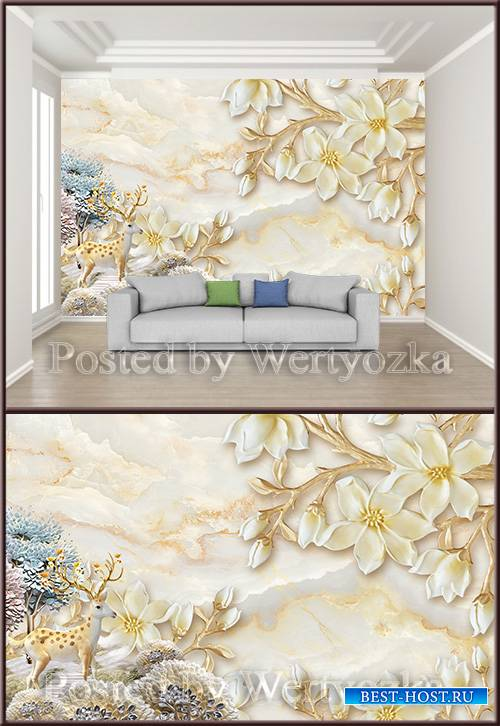 3D psd background wall three dimensional gardenia flower