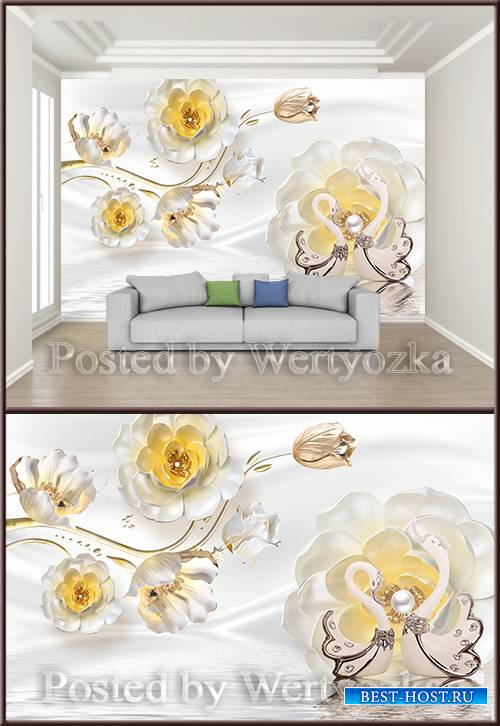 3D psd background wall jewels flowers pearls swan