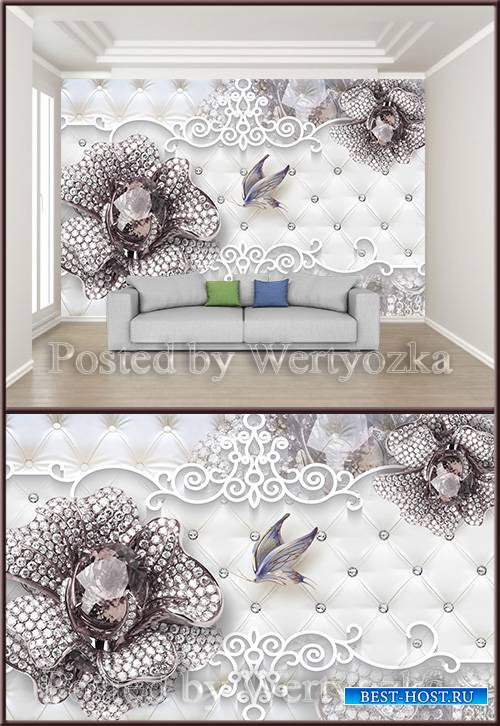3D psd background wall purple gemstone flower butterfly jewelry
