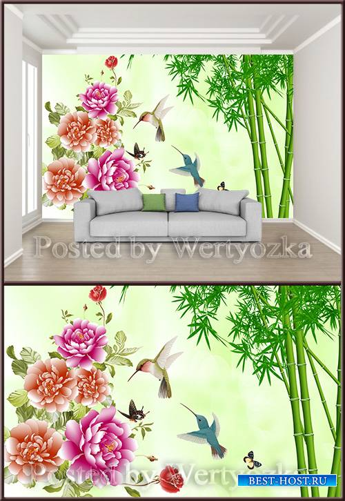 3D psd background wall safflower bird green bamboo