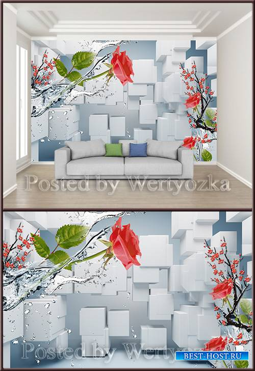 3D psd background wall cubes rose